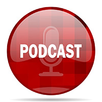 podcast red round glossy modern design web icon